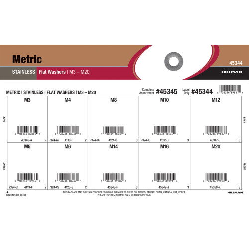 Stainless Steel Metric Flat Washers Assortment (M3 thru M20)