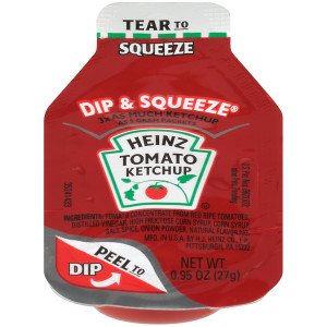 HEINZ Single Serve Ketchup DIP & SQUEEZE Packet, 27 gr. Container (Pack of 500) image