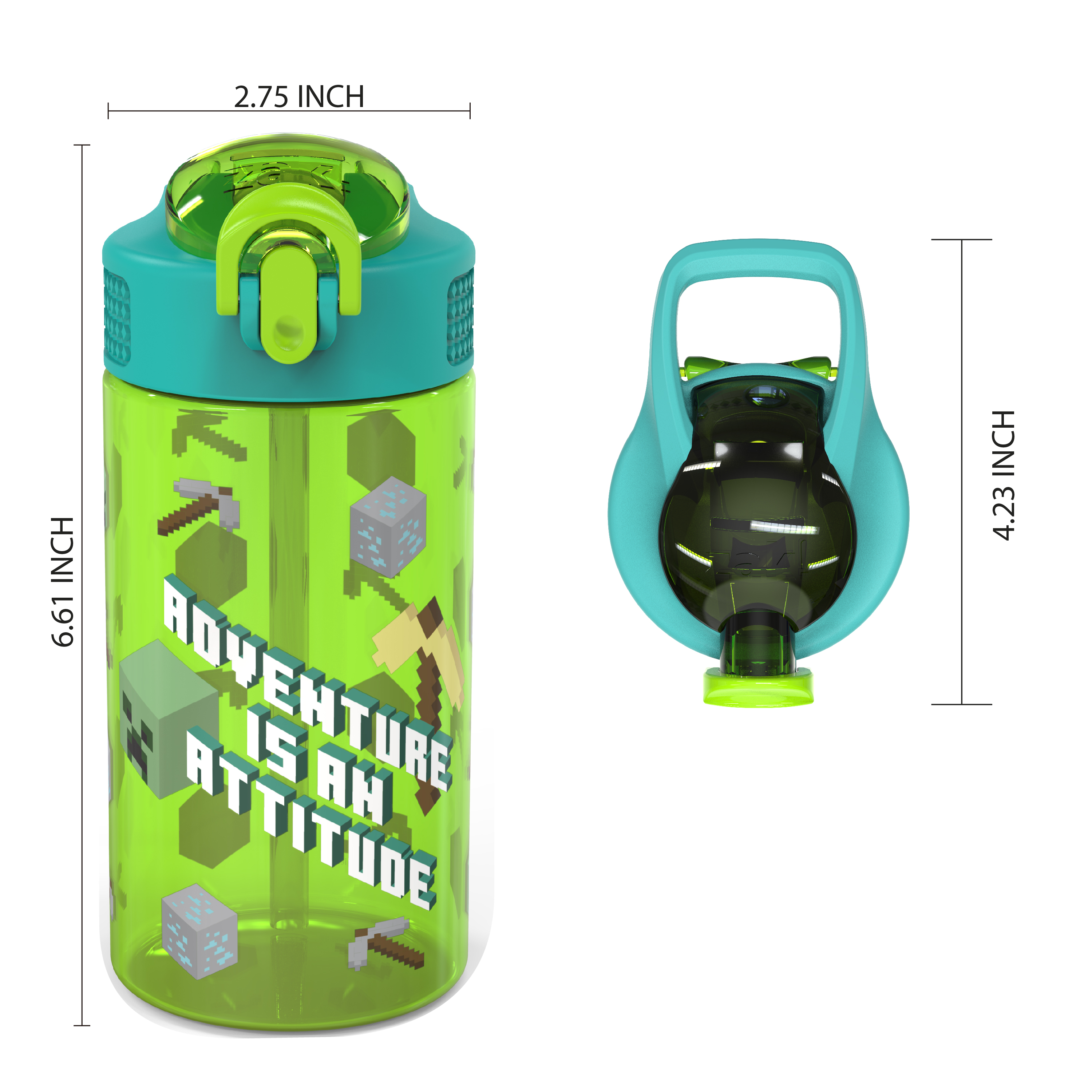 Minecraft 16 ounce Reusable Plastic Water Bottle with Straw, Creeper, 2-piece set slideshow image 6