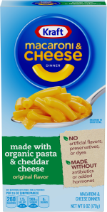 Kraft Original Flavor Macaroni & Cheese Dinner made with Organic Pasta & Cheddar Cheese 6 oz Box image