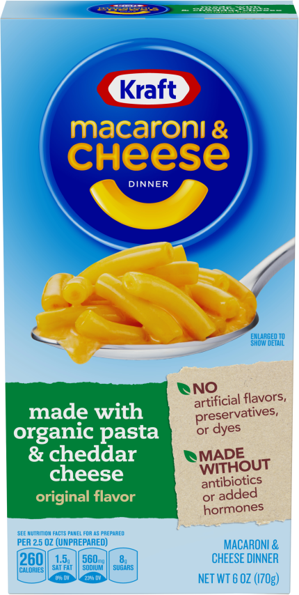 Kraft Original Flavor Macaroni & Cheese Dinner made with Organic Pasta & Cheddar Cheese 6 oz Box