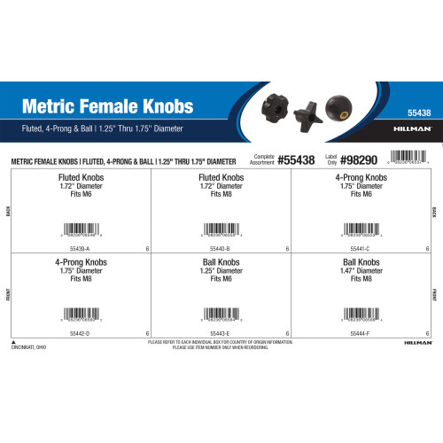 Metric Female Knobs Assortment (Fluted, 4-Prong, and Ball)