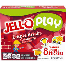Jell-O Play Edible Bricks Strawberry Gelatin Mix 3 oz Box