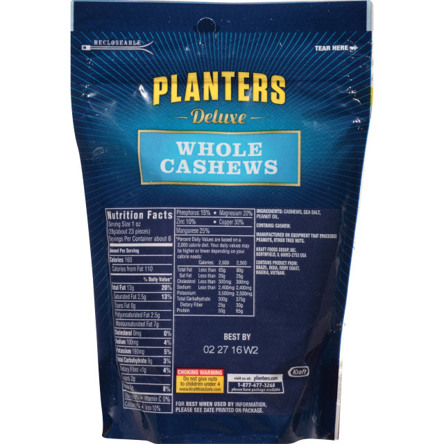 PLANTERS Deluxe Whole Cashews 6.0 oz Bag