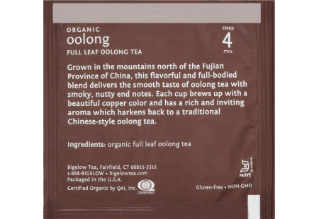 steep cafe by Bigelow organic full leaf oolong tea pyramid bag -markjeting message and ingredients