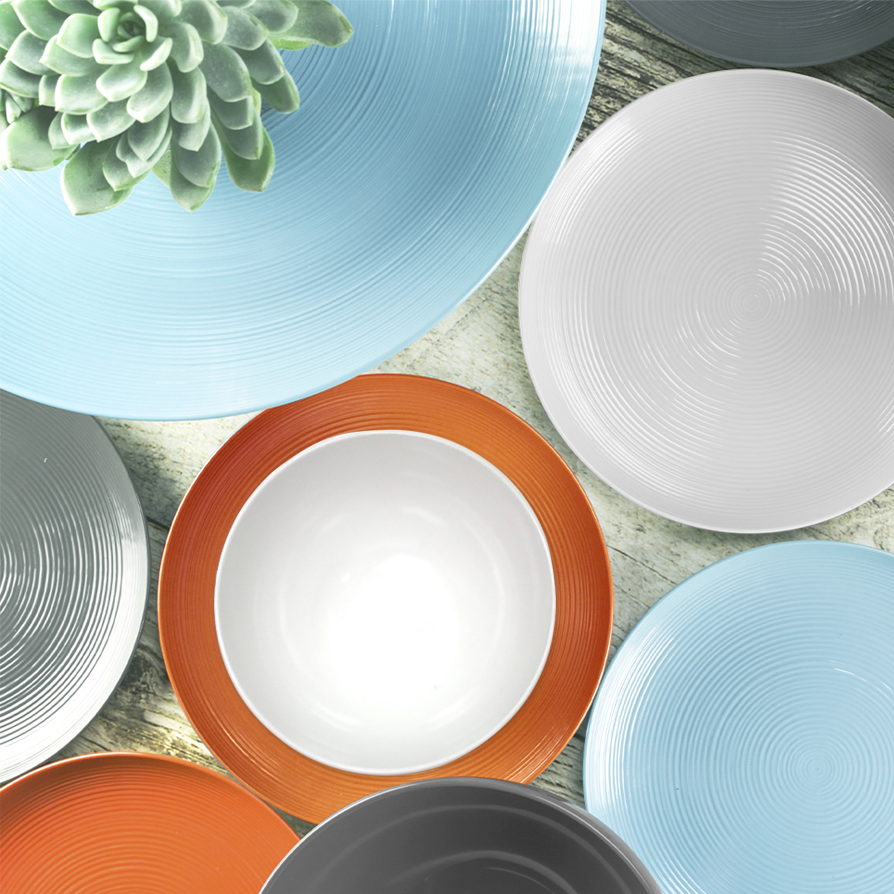 American Conventional Plate & Bowl Sets, Orange, 12-piece set slideshow image 11