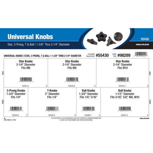 Universal Knobs Assortment (Star, 3-Prong, T, and Ball)