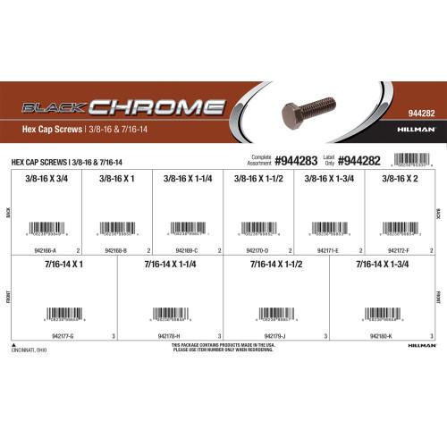 Black Chrome Hex Cap Screws Assortment (3/8