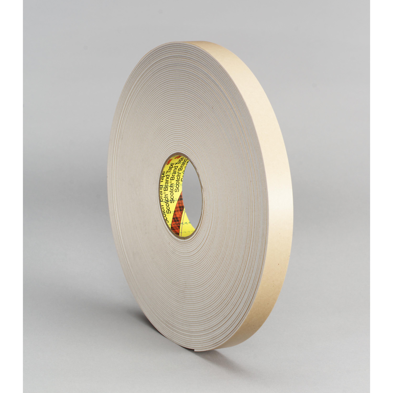 3M™ Double Coated Polyethylene Foam Tape 4496W, White, 1 in x 36 yd, 62 mil, 9 rolls per case
