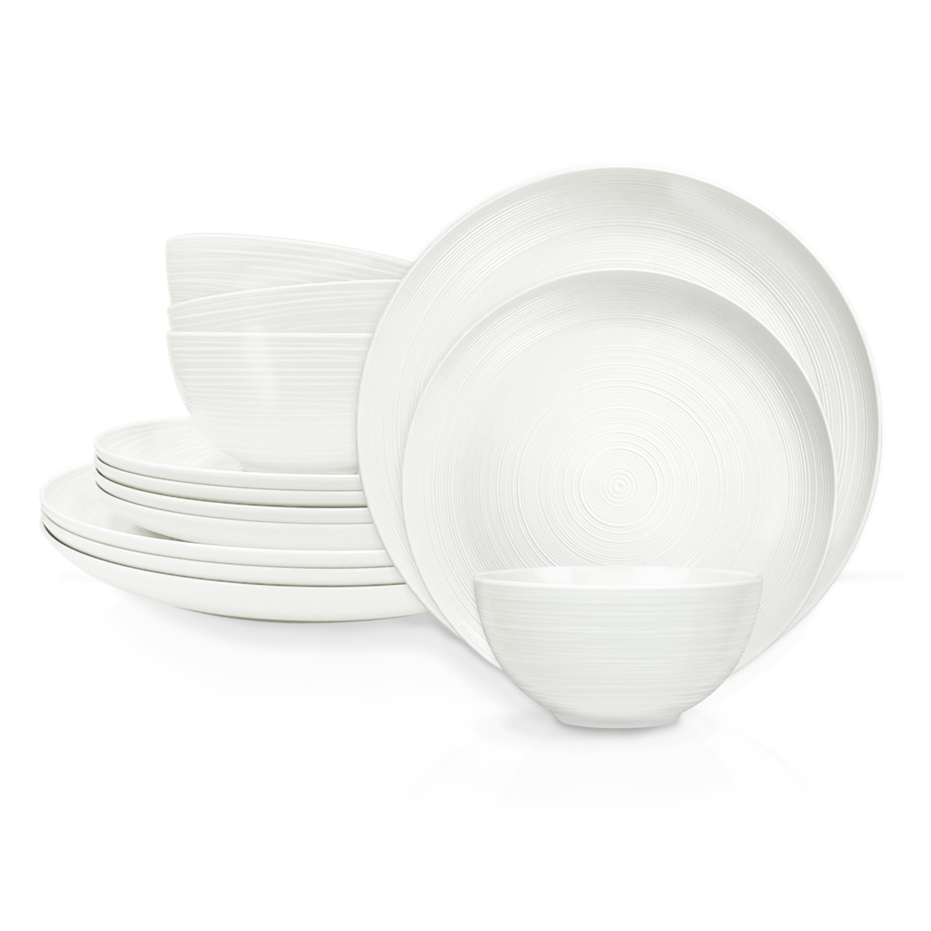 American Conventional Plate & Bowl Sets, White, 12-piece set slideshow image 2