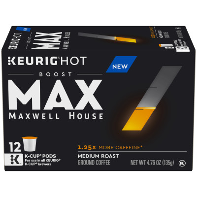 MAX Boost by Maxwell House 1.25x Caffeine Medium Roast Ground Coffee K-Cup Pods, 12 count