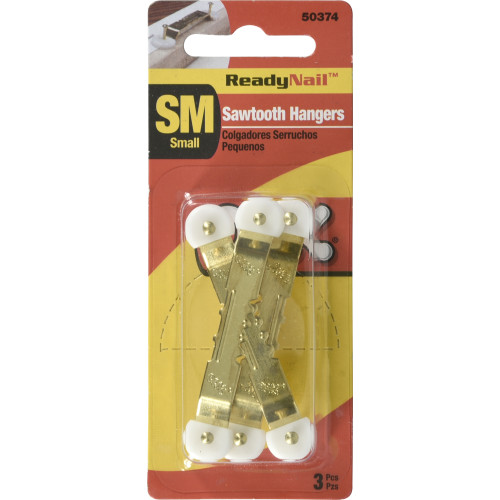 OOK ReadyNail Small Sawtooth Gold Picture Hanger 3 Pack