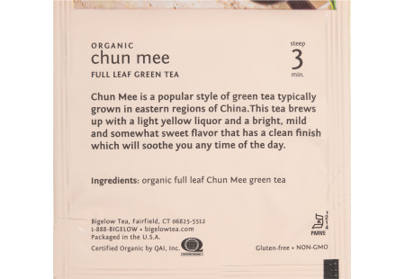 steep cafe by Bigelow organic full leaf chun mee green tea pyramid bag in overwrap - ingredient list