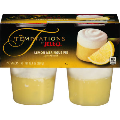 Jell-O Temptations Ready to Eat Lemon Meringue Pie Pudding Snack, 13.4 oz Sleeve (4 Cups)