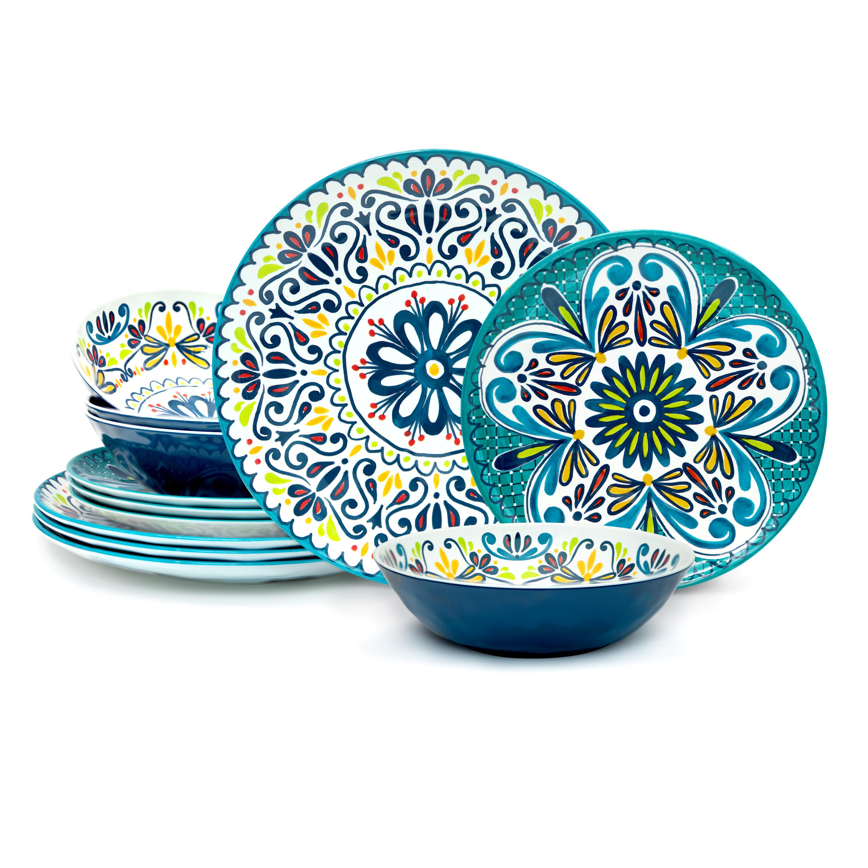 Medallion Dinnerware Set, Cool, 12-piece set slideshow image 1