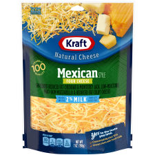 Kraft 2% Milk Mexican Style Four Cheese 7 oz Pouch