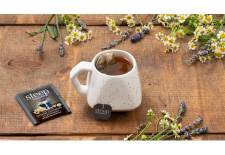 Cup of steep by Bigelow Organic Lavender Chamomile plus Probiotics tea with foil packet