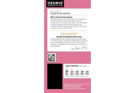 Ingredient panel of Bigelow English Breakfast Tea K-Cups box for Keurig