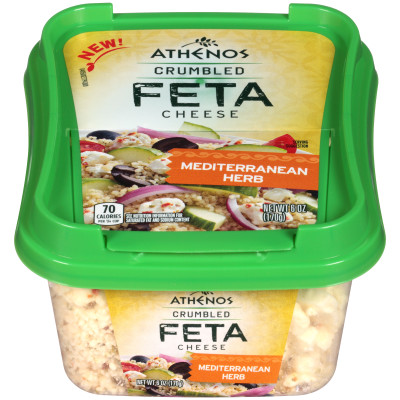 Athenos Crumbled Mediterranean Herb Feta Cheese 6 oz Tub