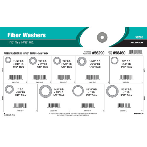 Fiber Washers Assortment (11/16