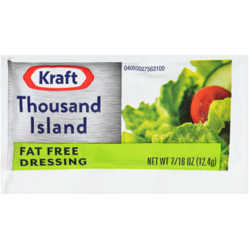 KRAFT Single Serve Fat Free Thousand Island Salad Dressing, 0.4375 oz. Packets (Pack of 200)
