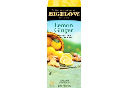 Left facing Lemon Ginger Herbal Tea Box of 28 tea bags