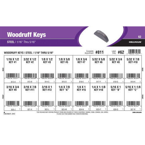 Woodruff Keys Assortment (1/16