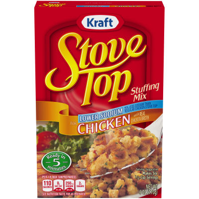 Kraft Stove Top Low-Sodium Chicken Stuffing Mix 6 oz Box