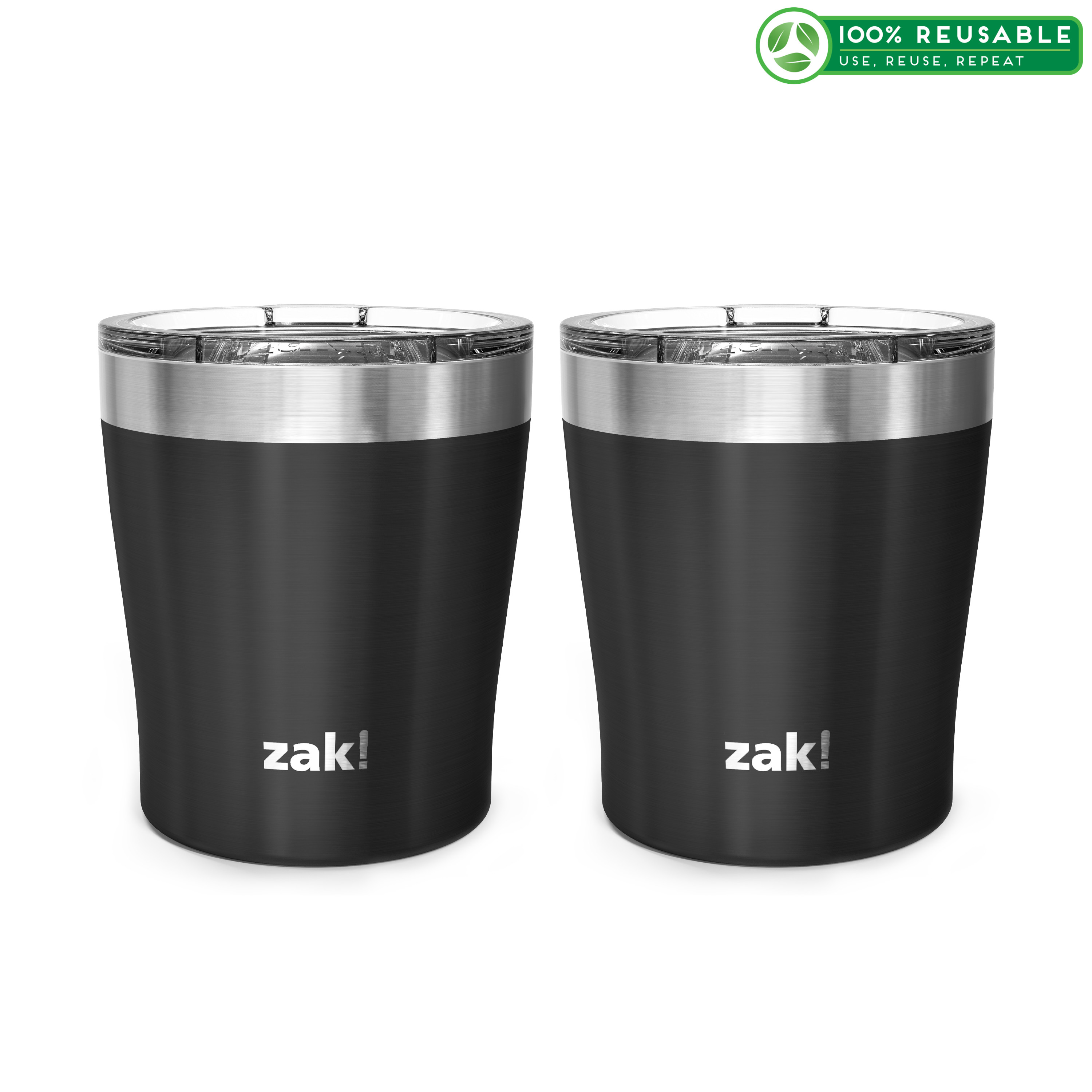 Dayton 10 ounce Vacuum Insulated Stainless Steel Tumbler, Black, 2-piece set slideshow image 1