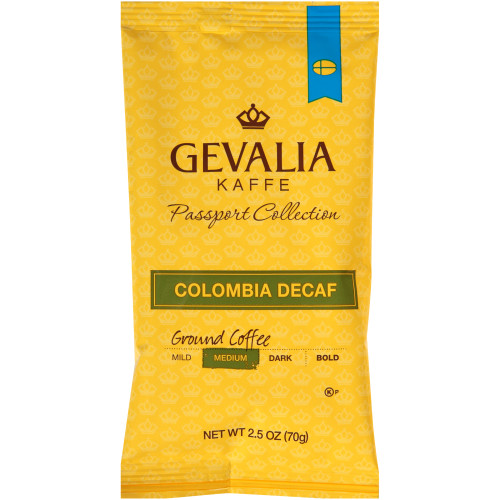 GEVALIA Colombian Roast & Ground Decaffeinated Coffee, 2.5 oz. Bag (Pack of 24)