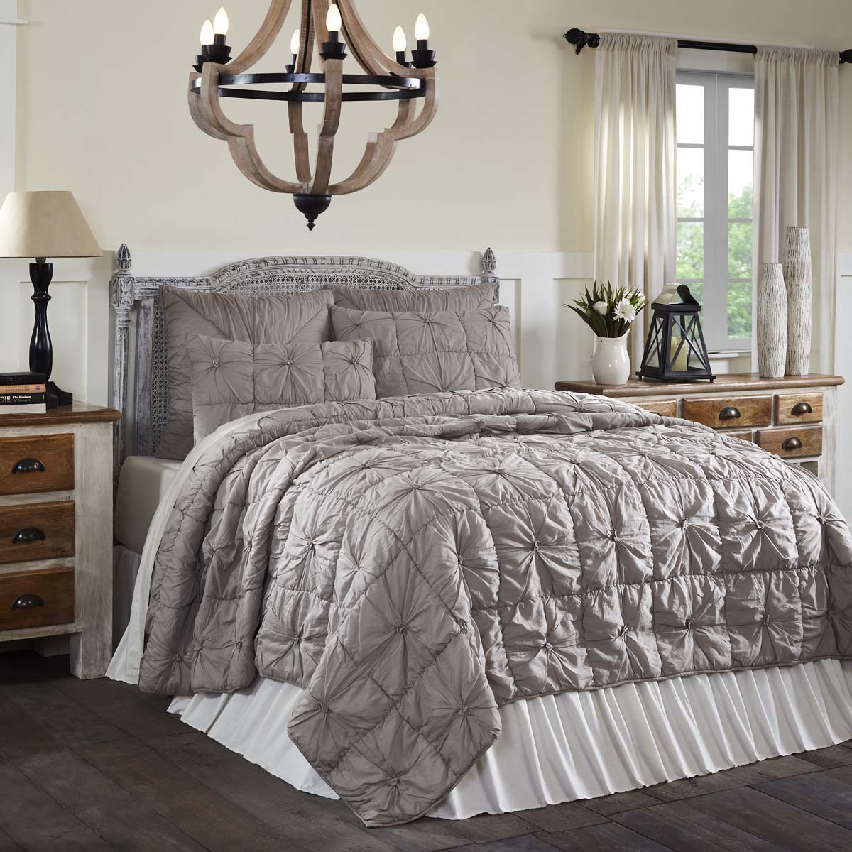 Farmhouse Bedding VHC Camille Quilt Set Cotton Solid Solid Solid Farbe Pleated Voile e72ec1