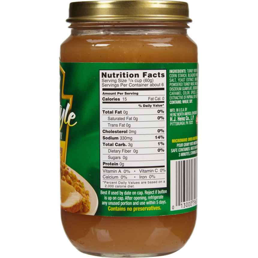 Heinz Home-style Roasted Turkey Fat-Free Gravy, 12 oz Jar