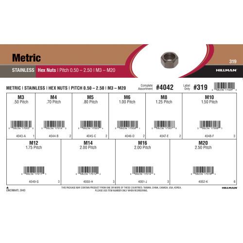 Stainless Steel Metric Hex Nuts Assortment (M3-0.50 thru M20-2.50)