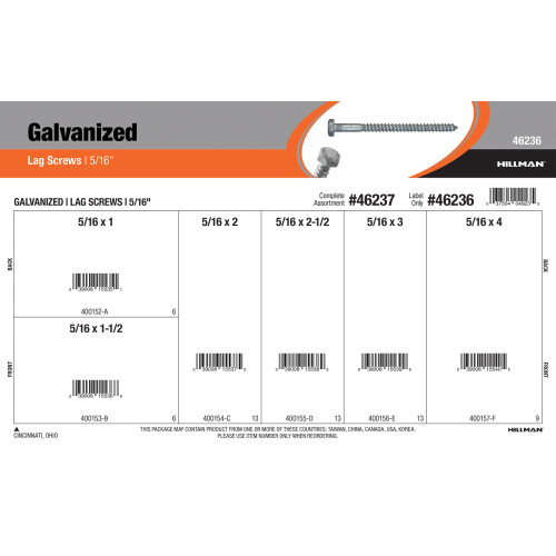 Galvanized Lag Screws Assortment (5/16