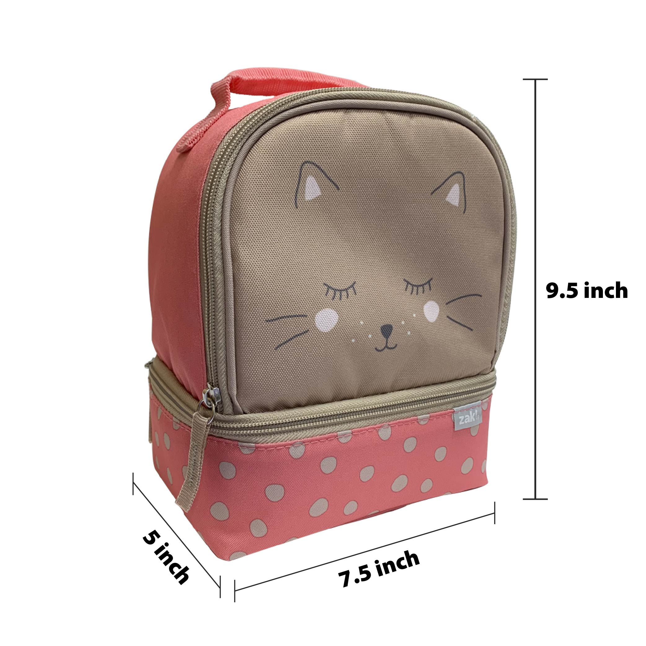 Soft Lines 2-compartment Reusable Insulated Lunch Bag, Kitties slideshow image 5