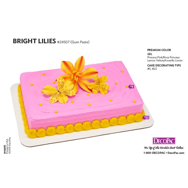 Bright Lilies Cake Decorating Instruction Card