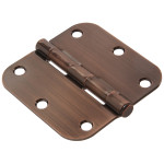 "Hardware Essentials 5/8"" Antique Bronze Round Corner Residential Door Hinges with Removable Pin"