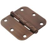 "Hardware Essentials 5/8"" Antique Bronze Round Corner Residential Door Hinges with Removable Pin"