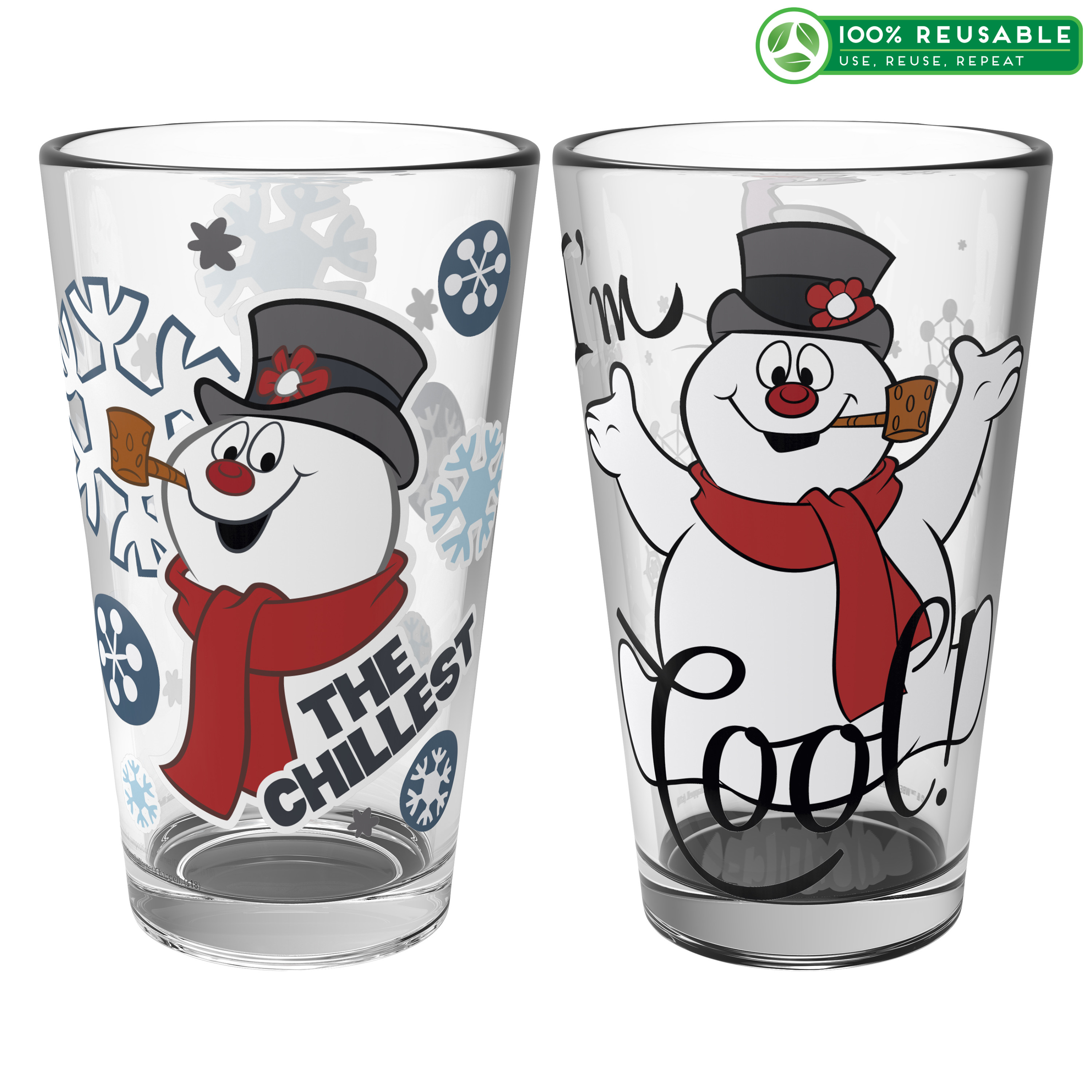 Christmas Collectibles 16 ounce Pint Glasses, Frosty the Snowman, 2-piece set slideshow image 1
