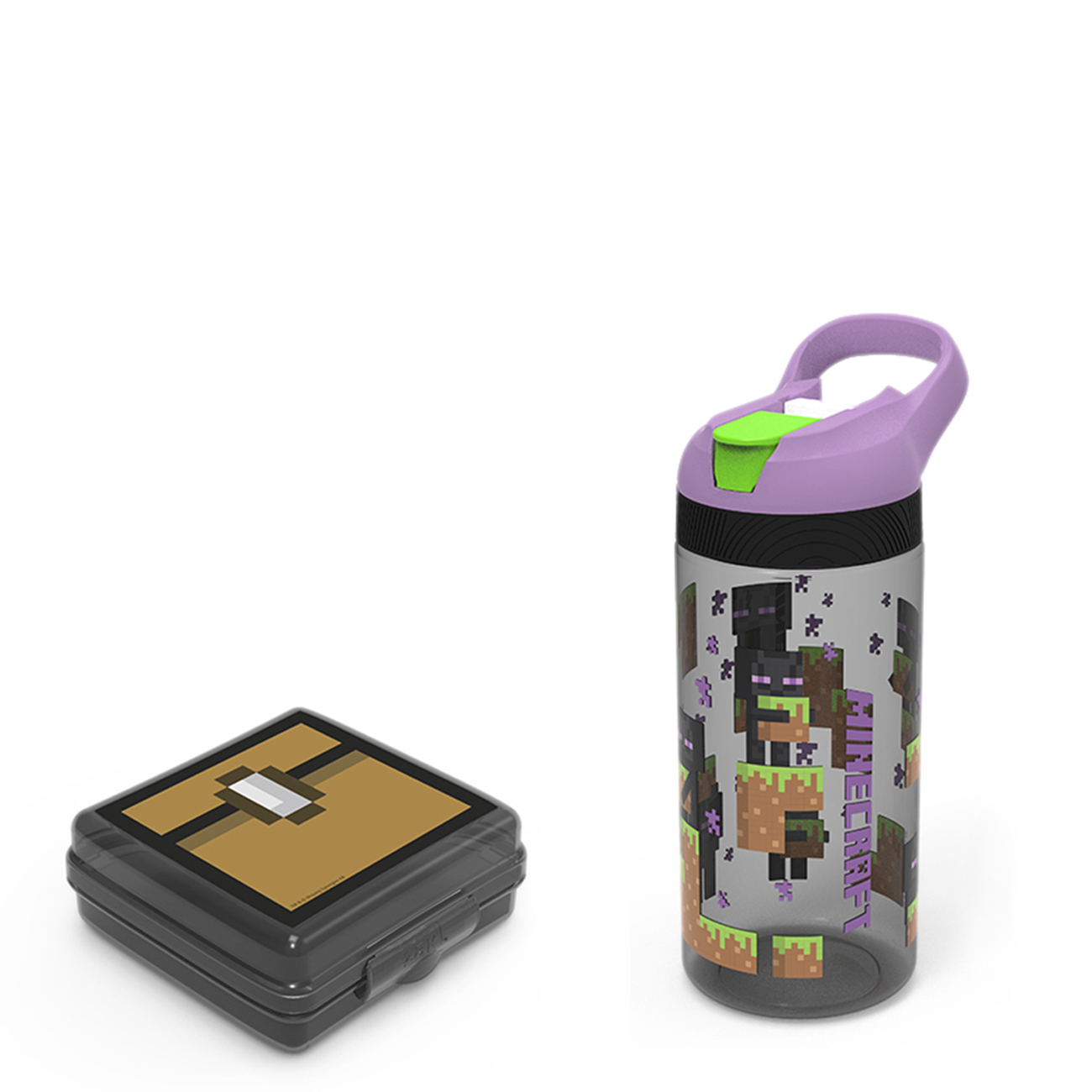 Minecraft Kid's Water Bottle and Sandwich Container Lunch Set, Steve and Alex, 2-piece set slideshow image 1
