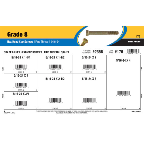 Grade 8 Hex Cap Screws Assortment (5/16-24 Thread)