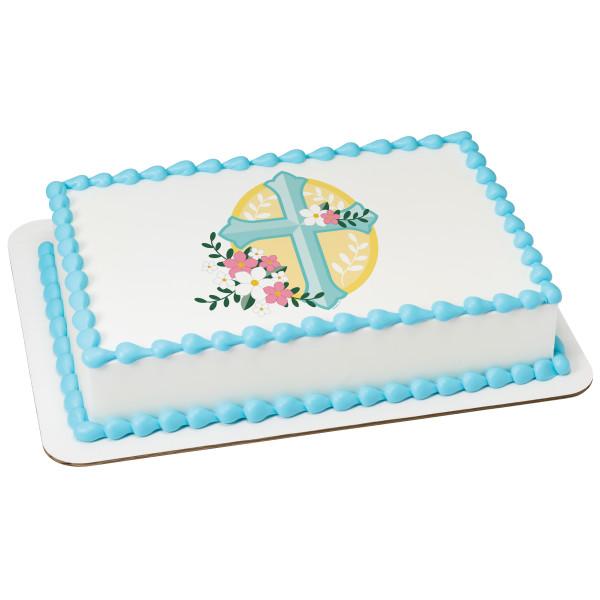 Cross with Flowers PhotoCake® Edible Image®
