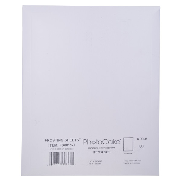 Frosting Sheets 1/4 Sheet Media PhotoCake® Edible Paper