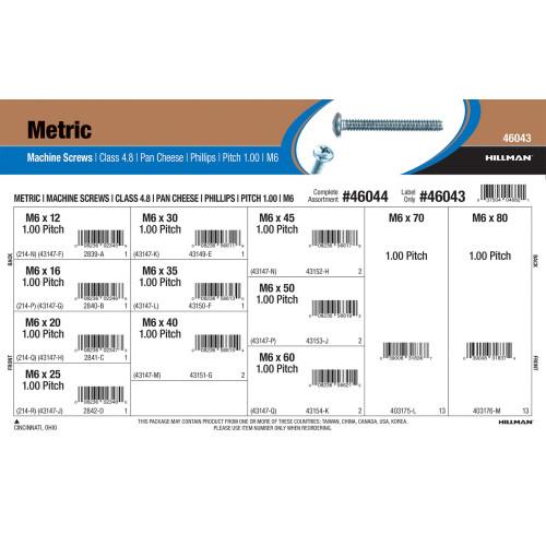 Class 4.8 Phillips Pan Cheese Metric Machine Screws Assortment (M6-1.00)