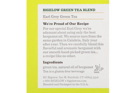 Ingredient Panel of Earl Grey Green Tea box