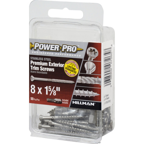 Power Pro Premium Exterior 305 Stainless Steel Trim Screws #8 x 1-5/8