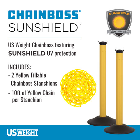 ChainBoss Stanchion - Yellow Empty  with Yellow Chain 2