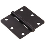 "Hardware Essentials 1/4"" Round Corner Oil Rubbed Bronze Door Hinges (3-1/2"")"