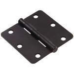 """Hardware Essentials 1/4"""" Round Corner Oil Rubbed Bronze Door Hinges (3"""")"""
