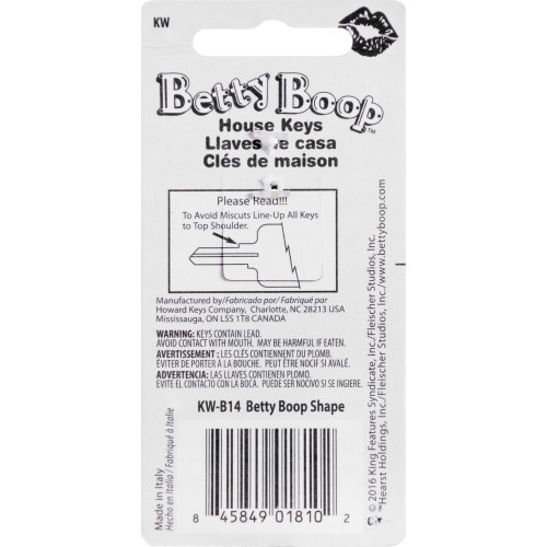 3D Betty Boop Shaped Key Kwikset 66/97 KW1/10